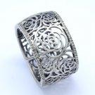 Vintage Flower Bracelet Bangle Cuff W/ Gray Swarovski Crystals H-Quality