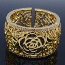 Flower Bracelet Bangle Cuff W/ Light Peach Swarovski Crystals H-Quality