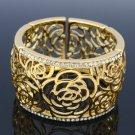 H-Quality Gold Tone Flower Bracelet Bangle Cuff W/ Clear Swarovski Crystals