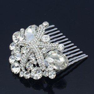 Bridesmaid Bridal Starfish Hair Comb W/ Clear Rhinestone Crystals For Wedding