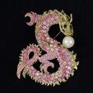 "Perky Faux Pearl Big Dragon Brooch Pin 3.5"" W/ Pink Rhinestone Crystals"
