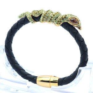 H-Quality Green Swarovski Crystals Black Leather Boa Snake Bracelet Bangle
