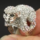 King Kong Monkey Orangutan Cocktail Ring Size 8# w Clear Swarovski Crystals