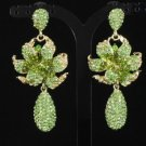 Swarovski Crystals Vogue Green Rose Flower Pierced Earring