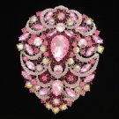 Swarovski Crystals Big Drop Pink Pendant Flower Brooch Broach Pin 4.9""