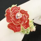 Huge Fashion Red Rose Flower Bracelet Bangle Cuff w/ Swarovski Crystals