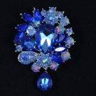 """beauty Capri Blue Pretty Flower Brooch Scarf Pin 3.1"""" Rhinestone Crystals"""
