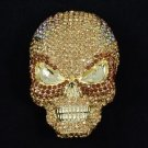 "Grisly Skull Brooch Pin 2.8"" W/ Brown Rhinestone Crystals For Halloween"