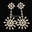 H-Quality Pierced Snowflake Earring W/ Clear A/B Swarovski Crystals Wedding