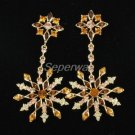 Exquisite Brown Swarovski Crystals Pierced Snowflake Earring