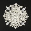 "Bridal Clear Flower Brooch Pin 2.4"" For Wedding Swarovski Crystals"