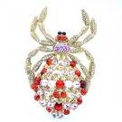 Red Araneid Spider Brooch Pin W/ Rhinestone Crystals Vintage Style
