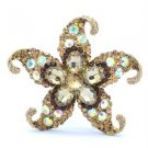 Vintage Brown Rhinestone Crystals Starfish Brooch Pin 3.1""