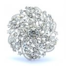 Bridal Dangle Clear Swaroski Crystals Round Flower Brooch Pin 2.16 ""