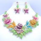 Pretty Multicolor Rhinestone Crystals Butterfly Rose Flower Necklace Earring Set