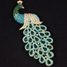 "Pretty Blue Peafowl Peacock Brooch Pin 4.9"" W/ Rhinestone Crystals"