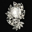 "Bridal Clear Flower Pendant Brooch Broach Pin 2.7"" W/ Rhinestone Crystals"