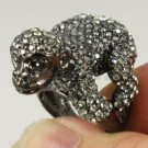 Black King Kong Monkey Orangutan Cocktail Ring 6# w Swarovski Crystals