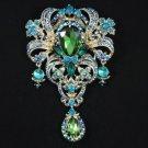 """Green Flower Pendant Brooch Pin 5.1"""" Swarovski Crystals"""
