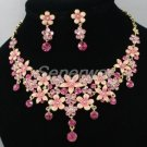Swarovski Crystals High Quality Pink Enamel Flower Necklace Earring Set