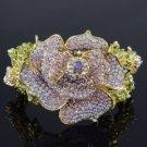Gorgeous Trendy Purple Rose Flower Bracelet Bangle Cuff w Swarovski Crystals