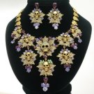 Swarovski Crystals Purple Multi Leaves Skull Necklace Earring Set For Halloween