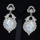 New Rhinestone Crystals Dual Pretty Wedding Drop Dangle Flower Pierced Earring