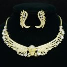 New Vogue Skull Angel Wings Necklace Earring Set w/ Clear Rhinestone Crystals