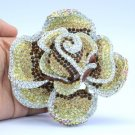 "Huge Flower Rose Brooch Pin 3.9"" W/ Brown Rhinestone Crystals"