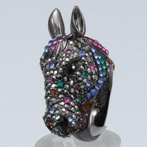 Multicolor Animal Steed Horse Ring Size 8# W/ Swarovski Crystals