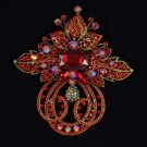 "Retro Fashion Light Siam Flower Brooch Pin 4.5"" W/ Swarovski Crystal Jewelry"
