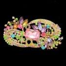 """Pretty Fashion Multicolor Flower Brooch Broach Pin 4.1"""" Rhinestone Crystals"""