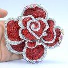 """Big Flower Rose Brooch Pin 3.9"""" W/ Red Rhinestone Crystals"""