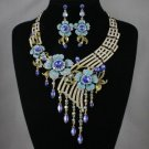 High Quality Blue Flower Necklace Earring Set w/ Swarovski Crystals #2815