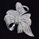 "Bridal Clear Bow Bowknot Flower Brooch Broach Pin 2.7"" W/ Rhinestone Crystals"