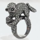 Cocktail Wild Pretty Black Monkey Ring 6# W/ Swarovski Crystals