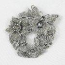 Swarovski Crystals Black Flower Butterfly Brooch Pin