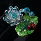 Swarovski Crystals Cute Ladybug Lotus Leaf Cocktail Ring Size 6#
