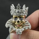 Halloween Crown Gold Skull Cocktail Ring 9# Swarovski Crystals