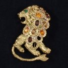 Vintage Style H-Quality Brown Lion Brooch Broach Pin w Swarovski Crystals