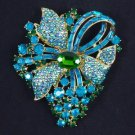 """Rhinesstone Crystals Fashion Blue Zircon Flower Brooch Pin 3.5"""""""