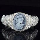 Sliver Tone Fashion Clear Relief Bracelet Bangle Cuff W/ Swarovski Crystals