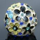 Swarovski Crystals H-Quality Blue Enamel Flower Cocktail Ring Size 8#