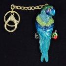 Exquisite Blue Swarovski Crystals Bird Parrot Key Chain Charm