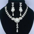 Pretty Leaf Flower Necklace Earring Set 02131 W/ Clear Rhinestone Crystal Bridal