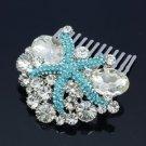 Cute Bridesmaid Bridal Blue Starfish Hair Comb W/ Clear Rhinestone Crystals