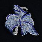 """Bowknot Flower Brooch Pin 2.7"""" W/ Blue Rhinestone Crystals"""