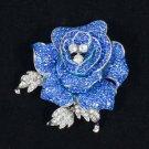 """Swarovski Crystals Retro Cute Blue Rose Flower Brooch Pin 2.1"""""""