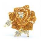 "Delicate Topaz Rose Flower Brooch Pin 2.1"" W/ Rhinestone Crystals"