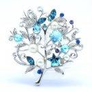 """Blue Faux Pearl Flower Brooch Broach Pin 2.3"""" W/ For Wedding Rhinestone Crystals"""